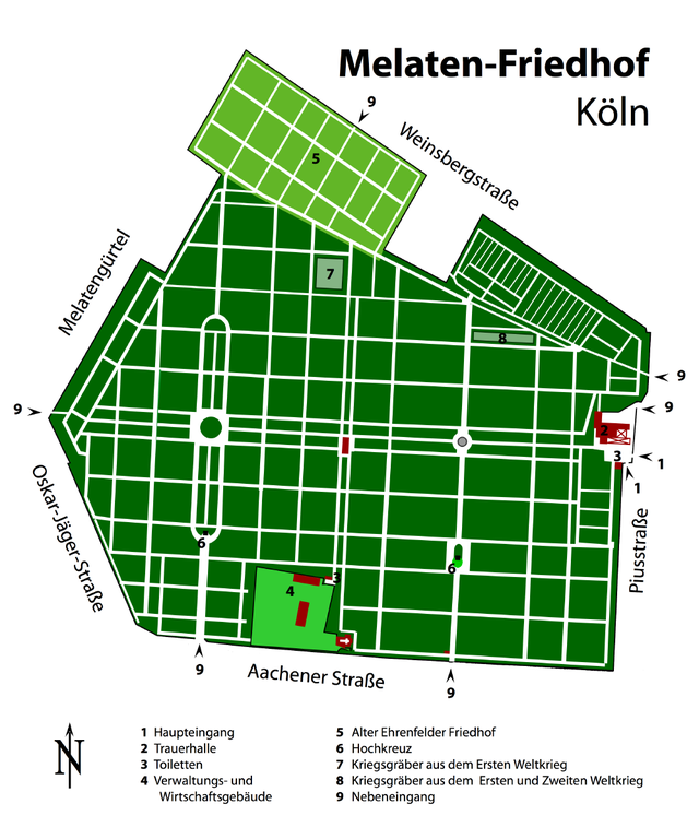 Melaten-Friedhof Mappa